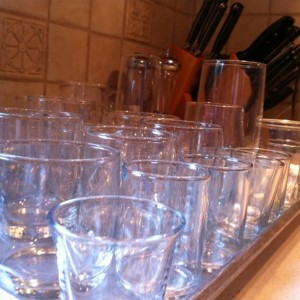 Dry glasses and set on cookie sheet