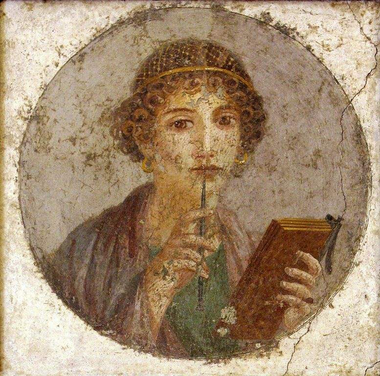 """Italian: Donna con tavolette cerate e stilo (cosiddetta """"Saffo"""") by unknown artist [Public Domain] via Wikimedia Commons"""