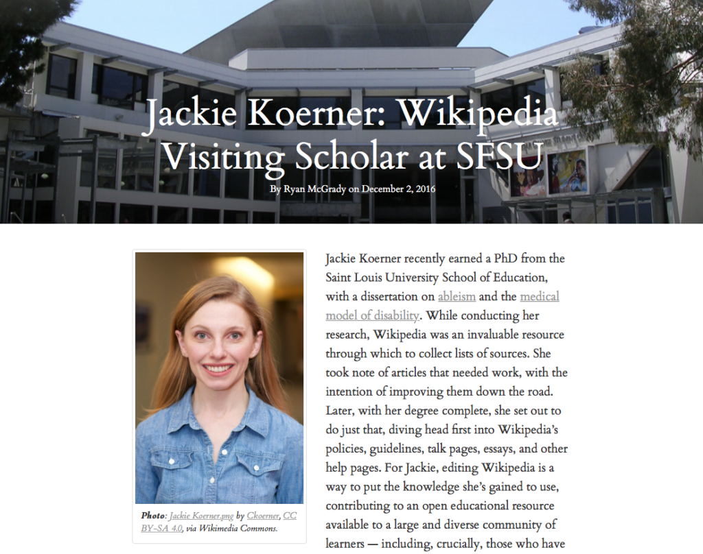 WikiEdu.org screenshot of Jackie Koerner: Wikipedia Visiting Scholar at SFSU