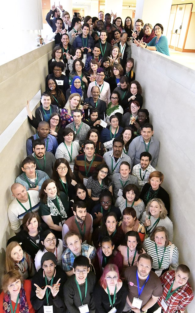 """Wikimedia Diversity Conference 2017 in Stockholm Group Photo, a photo by Jonatan Svensson Glad,<a href=""""https://creativecommons.org/licenses/by-sa/4.0/"""">Licensed under Creative Commons Attribution-ShareAlike 4.0 International</a>"""